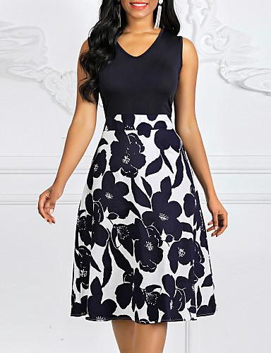 ieftine Up to 90% off-Pentru femei Mărime Plus Size Linie A Rochie - Fără manșon Floral Imprimeu Primăvară Vară Vintage Ieșire Bleumarin S M L XL XXL XXXL XXXXL XXXXXL / Bumbac