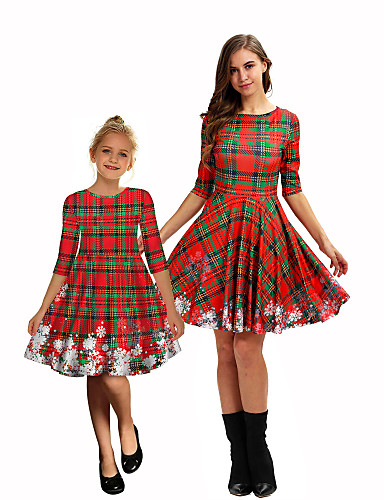 cheap Santa Suits & Christmas Costumes-Santa Claus Mommy and Me Christmas Christmas Polyester Dress
