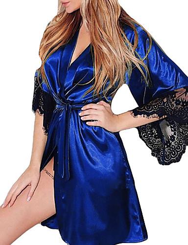 cheap Pajamas&Robes-Women's Lace Chemises & Gowns Nightwear Color Block Wine Light Blue Purple S M L
