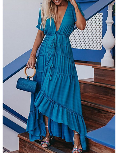 billige Kjoler-Dame Tubekjole Maxikjole - Kort Erme Helfarge Sommer Elegant 2020 Hvit Blå S M L XL
