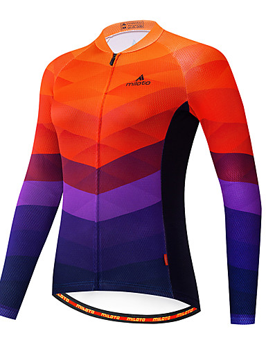 cheap Cycling Jerseys-21Grams Women's Long Sleeve Cycling Jersey Blue+Orange Stripes Patchwork Gradient Bike Jersey Top Mountain Bike MTB Road Bike Cycling Breathable Quick Dry Ultraviolet Resistant Sports Clothing Apparel