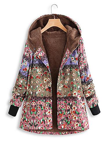 Недорогие Верхняя одежда-Жен. Парка Цветочный принт Полиэстер Синий / Розовый / Зеленый S / M / L