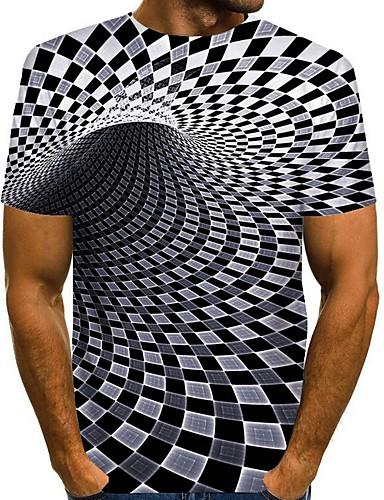저렴한 남성 티셔츠&탱크 탑-남성용 기하학 그래픽 티셔츠 일상 와인 / 옐로우 / 카키 / 클로버 / 네이비 블루 / 그레이