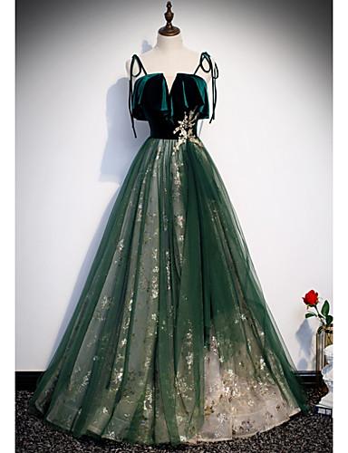 זול שמלות לאירועים מיוחדים-גזרת A נוצץ יוקרתי ארוסים ערב רישמי שמלה רצועות ספגטי ללא שרוולים עד הריצפה אורגנזה עם נצנצים 2020