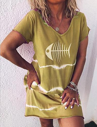 billige Nytt i kjoler-Dame 2020 Lilla Gul Sommer Kjole Fritid Gatemote A-linje Trykt mønster S M