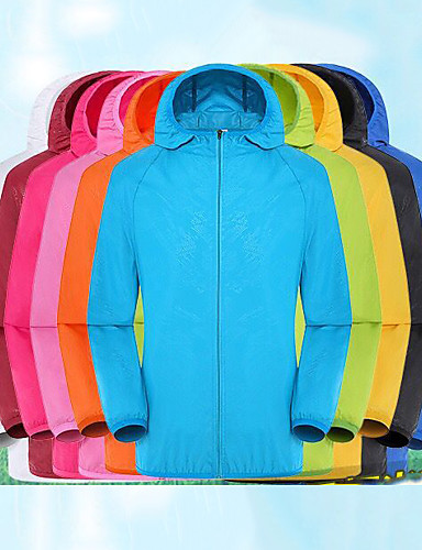 cheap Softshell, Fleece & Hiking Jackets-Men's Women's Hiking Skin Jacket Hiking Jacket Summer Outdoor Solid Color Waterproof Sunscreen UV Resistant Breathable Jacket Hoodie Top Single Slider Hunting Fishing Running White / Black / Yellow