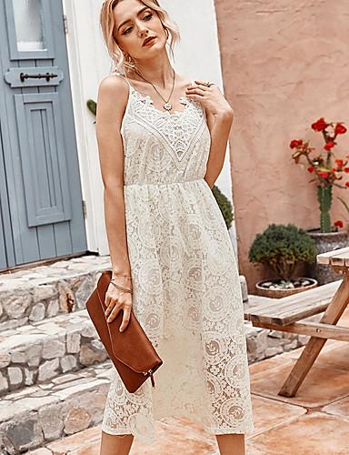 Χαμηλού Κόστους Για νεαρές γυναίκες-Γυναικεία Φόρεμα ριχτό Αμάνικο Συμπαγές Χρώμα Καλοκαίρι Λαιμόκοψη V Κομψό 2020 Λευκό Μαύρο Τ M L XL