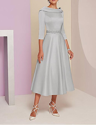 cheap Mother of the Bride Dresses-A-Line Mother of the Bride Dress Elegant Vintage Plus Size Bateau Neck Tea Length Satin 3/4 Length Sleeve with Beading 2020 Mother of the groom dresses