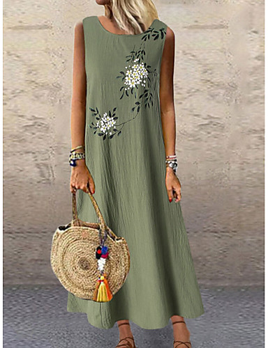 cheap New Arrivals-Women's Plus Size A-Line Dress Maxi long Dress - Sleeveless Floral Print Summer Holiday Vacation Loose 2020 Green Gray M L XL XXL XXXL XXXXL XXXXXL