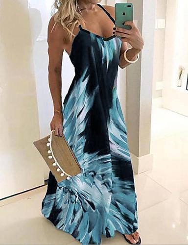 cheap Print Dresses-Women's Maxi long Dress - Sleeveless Floral Print Summer Plus Size Casual Holiday Vacation Beach Slim 2020 Blue Red Fuchsia Green Gray S M L XL XXL XXXL XXXXL XXXXXL