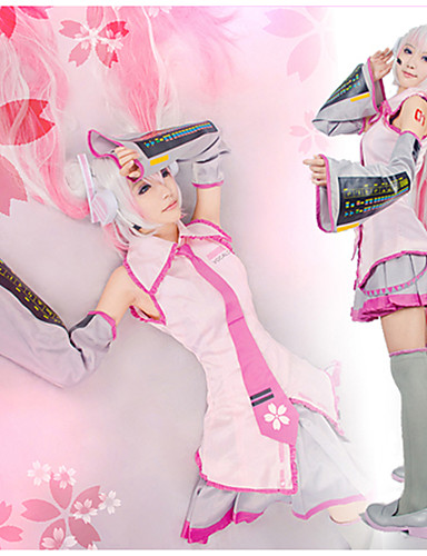 cheap Videogame Costumes-Inspired by Vocaloid Sakura Miku Video Game Cosplay Costumes Cosplay Suits / Dresses Patchwork Sleeveless Shirt Skirt Sleeves Costumes / Stockings