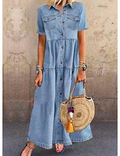 hesapli Yeni Gelenler-Kadın's Kot Kumaşı Maks haljina - Kısa Kol Yaz Günlük Seyahat 2020 Açık Mavi S M L XL XXL XXXL