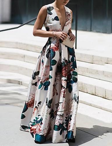 olcso Szalagavató ruhák-Szűk szabású Virágos Maxi Szabadság Diákbál Ruha V-alakú Ujjatlan Földig érő Nejlon val vel Minta 2020