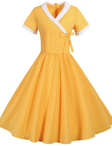 povoljno Stare svjetske nošnje-Audrey Hepburn Vintage inspirirano Haljine Žene Spandex Kostim Crn / Bijela / žuta Vintage Cosplay Kratkih rukava