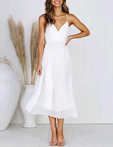cheap White Dresses-Women's A Line Dress - Sleeveless Solid Color Summer Elegant 2020 White Yellow S M L XL