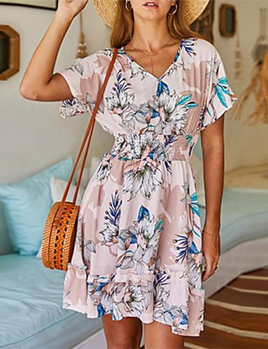 Χαμηλού Κόστους Για νεαρές γυναίκες-Φόρεμα με τυπωμένο floral καλοκαίρι το 2020