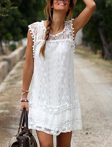 cheap Under USD $9.99-Women's Shift Dress Short Mini Dress - Sleeveless Lace Summer Plus Size Casual Holiday Vacation Lace White Black S M L XL XXL