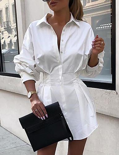 abordables Robes Femme-Femme Robe Robe Droite Au dessus du genou Manches Longues Eté - Chic de Rue Couleur unie 2020 Blanche Noir Fuchsia S M L XL