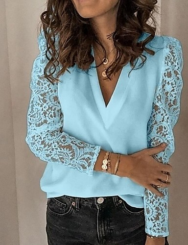 cheap Women's Blouses & Shirts-Women's Blouse Solid Colored Long Sleeve Tops V Neck White Black Blue
