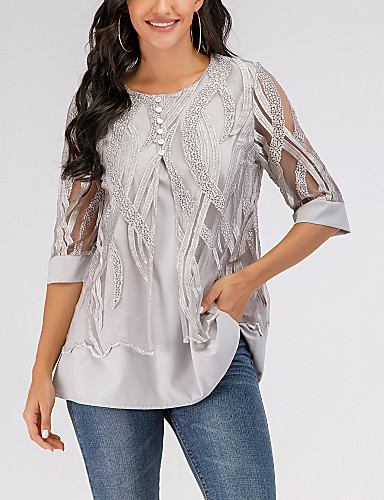 cheap ▶Limited Time Sales◀ Women's Tops-Women's Geometric Blouse Lace Causal Gray