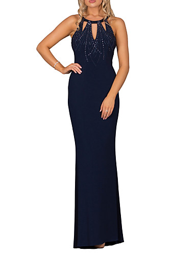 cheap Bridesmaid Dresses-Sheath / Column Halter Neck Sweep / Brush Train Lace Bridesmaid Dress with Beading