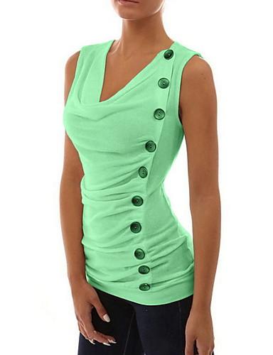 זול חולצות לנשים-בגדי ריקוד נשים אחיד עליונית טנק יומי צווארון V לבן / פול / אודם / ורוד מסמיק / פוקסיה / חאקי / תלתן
