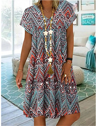 cheap Boho Dresses-Women's Plus Size A-Line Dress Knee Length Dress - Short Sleeves Tribal Print Summer V Neck Casual Vacation Loose 2020 Blue Red S M L XL XXL XXXL XXXXL XXXXXL