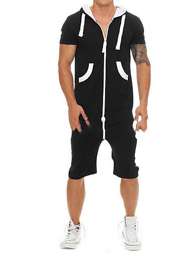 tanie Męskie spodnie i szorty-Męskie Podstawowy Czarny Jednoczęściowe Śpiochy dla dorosłych, Solidne kolory US32 / UK32 / EU40 US34 / UK34 / EU42 US36 / UK36 / EU44