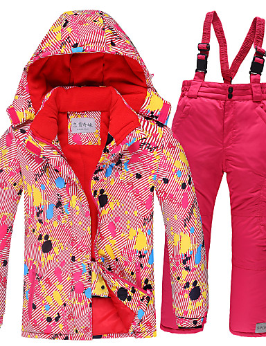 cheap Ski & Snowboard-Girls' Ski Jacket Ski / Snow Pants Skiing Camping / Hiking Winter Sports Waterproof Windproof Warm Polyester Warm Top Warm Pants Clothing Suit Ski Wear / Kids