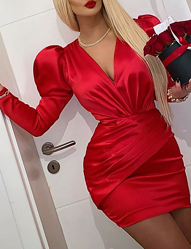 cheap Cocktail Dresses-Sheath / Column Vintage Red Homecoming Cocktail Party Dress V Neck Long Sleeve Short / Mini Satin with Ruched 2020
