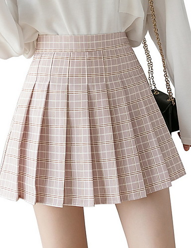 povoljno Ženske suknje-Žene A kroj Suknje - Karirani uzorak Blushing Pink Djetelina Svijetlo zelena XS S M