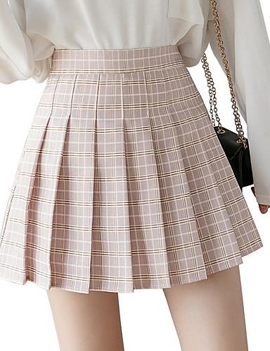 cheap Women's Skirts-Women's A Line Skirts - Check Blushing Pink Green Light Green XS S M