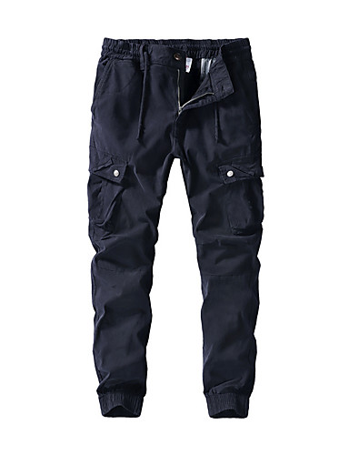 cheap Hiking Trousers & Shorts-Men's Hiking Pants Hiking Cargo Pants Solid Color Summer Outdoor Loose Breathable Quick Dry Soft Sweat-wicking Cotton Pants / Trousers Bottoms Black Army Green Khaki Dark Blue Camping / Hiking