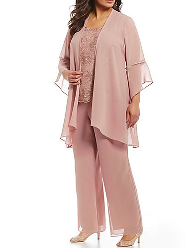cheap Mother of the Bride Dresses-Two Piece Pantsuit / Jumpsuit Mother of the Bride Dress Elegant Plus Size Jewel Neck Floor Length Chiffon Lace 3/4 Length Sleeve with Appliques 2020