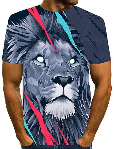 preiswerte Herrenoberteile-Herrn Grafik 3D-Druck Löwe Druck T-shirt Grundlegend Übertrieben Alltag Rundhalsausschnitt Grau / Kurzarm / Tier