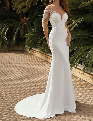 cheap Wedding Dresses-Mermaid / Trumpet Wedding Dresses Square Neck Sweep / Brush Train Lace Satin Tulle Half Sleeve Sexy See-Through with Pearls Embroidery 2020