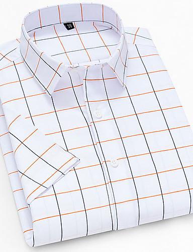 billige Herre Mode Beklædning-Herre Ternet Trykt mønster Skjorte Daglig Button down-krave Hvid / Kortærmet