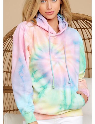cheap Sweaters & Cardigans-Women's Pullover Hoodie Sweatshirt Tie Dye Basic Hoodies Sweatshirts  Rainbow