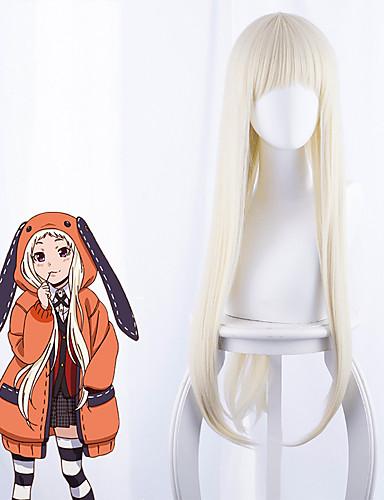 halpa Anime-peruukit-Kakegurui Cosplay-Peruukit Naisten Otsatukka 35 inch Heat Resistant Fiber Kinky Straight Valkoinen Aikuisten Anime peruukki