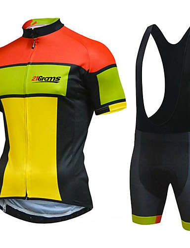 cheap Cycling-21Grams Men's Short Sleeve Cycling Jersey with Bib Shorts Summer White Black Patchwork Bike Clothing Suit UV Resistant 3D Pad Quick Dry Reflective Strips Back Pocket Sports Patchwork Mountain Bike