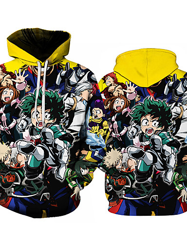 cheap Everyday Cosplay Anime Hoodies & T-Shirts-Inspired by Cosplay My Hero Academia Midoriya Izuku Cosplay Costume Hoodie Cotton Fibre Print Printing Hoodie For Men's / Women's