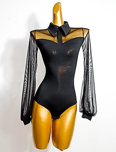 cheap Latin Dancewear-Latin Dance Leotard / Onesie Split Joint Women's Performance Long Sleeve Crystal Cotton Mesh
