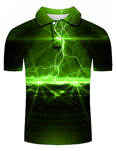 cheap Men's Tops-Men's Plus Size Graphic Slim Polo Basic Street chic Daily Holiday Shirt Collar Green / Short Sleeve