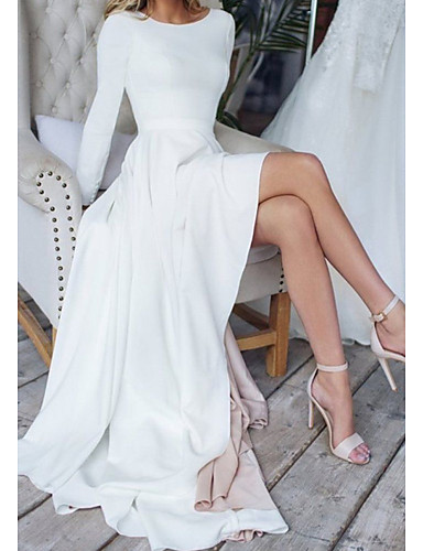 cheap Wedding Dresses-A-Line Wedding Dresses Jewel Neck Sweep / Brush Train Chiffon Over Satin Long Sleeve Simple Modern with Split Front 2020