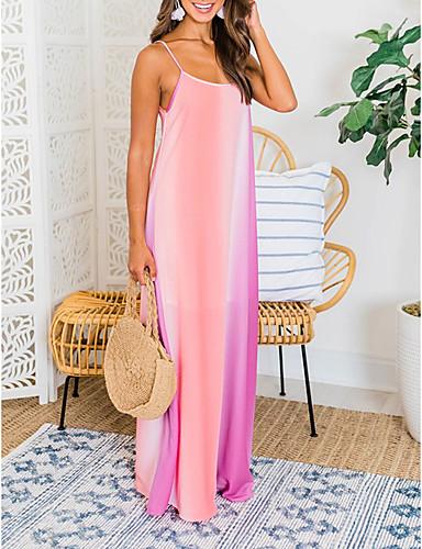 hesapli Maksi Elbiseler-Kadın's Kılıf Elbise - Kolsuz Gökküşağı Yaz Zarif 2020 Havuz YAKUT S M L XL XXL