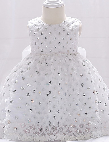 cheap Christening Gowns-Ball Gown Floor Length Event / Party / Birthday Christening Gowns - Lace / Tulle Sleeveless Jewel Neck with Bow(s) / Paillette