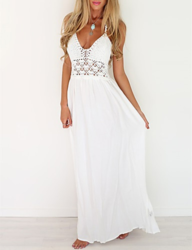 cheap Print Dresses-Women's Lace Maxi long Dress - Sleeveless Solid Color Backless Mesh Spring V Neck Casual Streetwear Holiday Beach 2020 White S M L XL