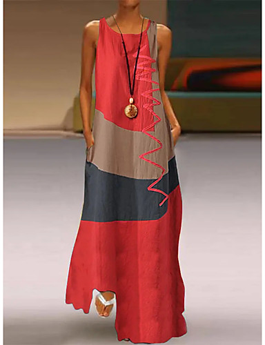 cheap New Arrivals-Women's Plus Size Maxi long Dress - Sleeveless Color Block Patchwork Summer Casual Holiday Vacation 2020 White Red Khaki Dusty Blue S M L XL XXL XXXL XXXXL XXXXXL