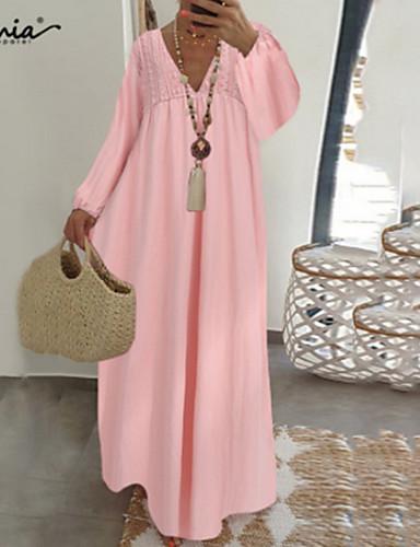 abordables Robes Décontracté-Femme Robe Robe d'été Blanche Maxi Manches Longues Eté - Chic de Rue Couleur unie 2020 Blanche Noir Rose Claire S M L