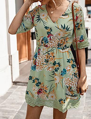 Χαμηλού Κόστους Για νεαρές γυναίκες-Φόρεμα λουλουδιών με τυπωμένη ύλη το καλοκαίρι του 2020